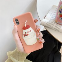caso teléfono corea al por mayor-Mytoto Japón Corea del Sur 3D Lindo dulce leche de plátano Fresa Bebida Funda de silicona para iphone MAX XS XR 6 7 8 más X fundas