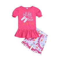 kleinkind t-shirt druck großhandel-Kinder Mädchen Kleidung Kleinkind Brief drucken T-Shirt + kurze Hosen 2PCS Set Outfit Infant Sommer Boutique Casual Kinderkleidung