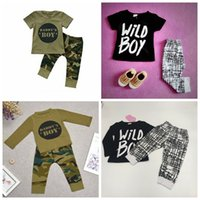 Wholesale checkered long sleeve cotton for sale - Group buy Baby boys clothing letter WILD BOY top checkered pants set camouflage DADDY S BOY short long sleeve suit