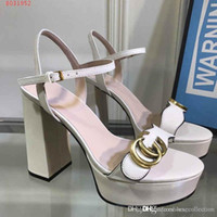 moda stil ayakkabı toptan satış-Son Kadınlar Slingbacks Yüksek Topuk Sandalet, kalın alt Yüksek platform moda bayan ayakkabı, Günlük stil
