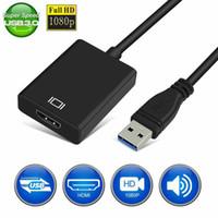 hdmi dvi dhl toptan satış-, Windows 7/8/10 PC Laptop için HD 1080 USB 3.0 için HDMI dişi Audio Video Adaptörü Dönüştürücü Kablo ücretsiz sürücü