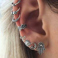 Trendy Bohemian Silver Color Alloy Cuff Earrings For Women 7PCS Set Geometric No Hole Clip On Earrings Brincos Ear Jewelry Gifts
