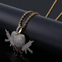 Wholesale gun heart pendant resale online - 18K Gold Plated Necklace Pendant Jewelry Luxury Men Women Rappers Street Fashion Bling Zircon Copper Love Heart Guns Hip Hop Necklaces