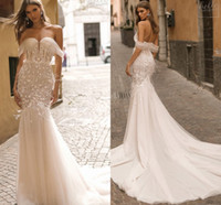 Wholesale berta bridal for sale - 2019 Berta Gorgeous Off The Shoulder Wedding Dresses Lace Appliques Feather Mermaid Beach Boho Wedding Dresses Bridal Gown Custom Made