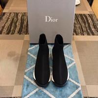chaussettes de démarrage pour les femmes achat en gros de-marque Double Chaussettes Noir Blanc Speed Trainer Femme Chaussures Bottes Décontractées Haute Qualité Stretch-Knit High Top Trainer Chaussures Pas Cher