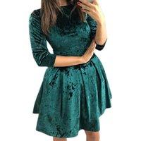 robes de taille plus achat en gros de-Velvet Femmes A-Line Dress 2019 Sweet Girls Mini Dress Printemps Automne Plus La Taille Kawaii Robes De Soirée Dames Velour Mignon Robe GV343