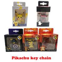 Wholesale couple figures resale online - Pikachu key chain bell couple Keychain Car Key Holder Acrylic Bell Anime Key Chain Bag Pendant Bts Pikachu Figures Accessories Girl Gift