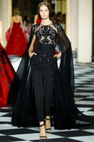 black wrap dress toptan satış-2019 Yeni Siyah Balo Elbiseler Kadın Tulumlar Ile Wrap Illusion Dantel Boncuklu Kokteyl Parti Ünlü Elbise Abiye elbiseler de soirée