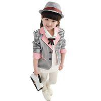 manera muchacha niño chino al por mayor-2019 niños niñas del niño slim fit blazers abrigo tops adolescentes rayas de otoño moda china chaqueta chaqueta informal