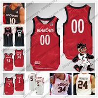 13 camiseta de baloncesto roja al por mayor-Personalizado Cincinnati 2019 Baloncesto Cualquier nombre Número Rojo Blanco Negro 2 Keith Williams 13 Tre Scott 34 Jarron Cumberland Hombres Juventud Kid