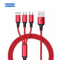 iphone cabo vermelho venda por atacado-Cabos multi carregador 3 em 1 para Android Apple USB + Tipo C + 8 pinos Linha de carregador de dados de sincronização para IPhone 6 7 8plus Samsung S7 Huawei PC