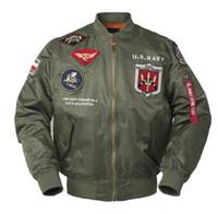 chaqueta de pistola al por mayor-Hombres Abrigos Otoño Top gun Us navy MA1 letterman varsity béisbol Piloto vuelo de la fuerza aérea táctica de la universidad militar ejército chaqueta para hombres