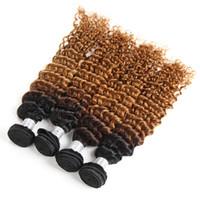 brazilian kıvrık örgü ombre toptan satış-Brezilyalı Ombre Kıvırcık Saç 4 Paketler Islak ve Dalgalı Ombre Derin Kıvırcık İnsan Saç Dokuma Iki Ton Derin Dalga Saç 1B / 30 Renk