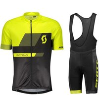 Wholesale Triathlon SCOTT team Cycling Short Sleeves jersey bib shorts sets new men summer Quick Dry Breathable Comfortable Cycling jerseys suit