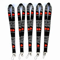 Wholesale key strap lanyard resale online - I Love JESUS Styles Neck Lanyard for MP3 Cell Phone ID Card Key Chain Straps Black Fashion Good quality