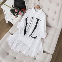 batwing gevşek bluz kısa toptan satış-Milan Pist Kadınlar Batwing Kısa Kollu Gömlek Mektup Baskı Tasarımcısı Bluzlar Kadın Siyah / Beyaz Gevşek Rahat Tops