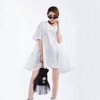 новые корейские стили блузки оптовых-Johnature Spliced Mini 2019 Korean Ruffles Womens Top Blouses Solid Color Short Sleeve Summer New Streetwear Style Loose Shirts