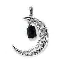 Wholesale natural black tourmaline pendant resale online - Kraft beads Unique Silver Plated Irregular Shape Natural Black Tourmaline Crescent Moon Stone Pendant Charm Jewelry