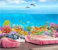 unterwasser 3d wandmalereien für wände großhandel-3d wallpaper benutzerdefinierte fototapete Underwater World Dolphin Bay Coral 3D TV Hintergrund Wandbild für Wände 3 d