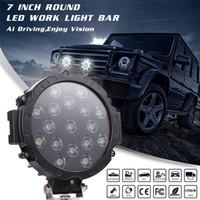 luces de camión de alta led al por mayor-7 pulgadas 51 W luces de trabajo Led rojo Pods Bull Bar conducción Offroad camión SUV ATV redondo impermeable negro Durable y de alta calidad l0412