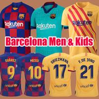 erkekler forma giyenler toptan satış-2019 2020 Barcelona Soccer Jerseys Kids Futbol Forması Camisetas de Fútbol ERKEKLER ÇOCUKLAR 19 20 Barca Messi GRIEZMANN DE JONG Rakitic Futbol takımları Maillot de foot