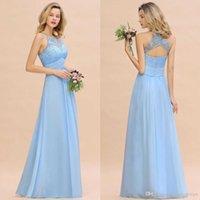 buz mavi düğün nedime elbiseleri toptan satış-Kanat Dantel Aplike Basit Wedding Guest Önlük Birlikte Aç Geri tuşu ile 2020 Modest Gök Mavisi Halter A Hattı Nedime Elbise