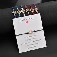 deseja uma liga de árvore venda por atacado-Faça um desejo pulseira cartão de presente - pulseira desejo trançado tom de ouro liga vida árvore jóias charme pulseira para meninas crianças crianças