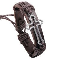 ingrosso gioielli in pelle fatti a mano-Nuovo arrivo Hallow out Cross Urban gioielli braccialetto di fascino fatti a mano in vera pelle braccialetto retrò gioielli religiosi
