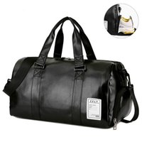 Wholesale gym bag resale online - Gym Bag Leather Sports Bags Big MenTraining Tas for Shoes Lady Fitness Yoga Travel Luggage Shoulder Black Sac De Sport