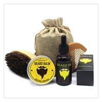 peines de hombres al por mayor-Kit de aceite para barba Bigote para hombres con bigote Pan Peine Cepillo Bolsa de almacenamiento Peines para el cabello Bolsa de almacenamiento Cepillos para el cabello