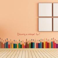 ingrosso disegnando pareti della camera da letto-Creativo disegno a matita battiscopa adesivi murali balcone camera da letto adesivi rimovibili impermeabili carta decorativa moda selvaggio creativo