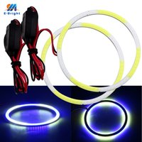 faro azul motocicleta al por mayor-2PCS COB Auto Halo Rings Angel Eye Headlight Car Angel Eyes Motocicleta Blanco + Azul Color 12V 24V 60MM 70MM 80MM 90MM 100MM 110MM