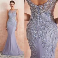 pesado cristal beaded vestidos de sereia venda por atacado-Lavender pesado de cristal frisada Vestido 2020 New Mermaid Longo Prom Dress Luxueux colher Especial Ocasião Vestidos até o chão