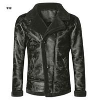 jaqueta de lã preta venda por atacado-Homens de lã de cordeiro preto casaco de pele inverno quente camuflagem gola de pele do falso dos homens jaqueta de couro moto luxo magro natural grosso