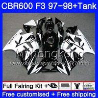 cbr f3 noir blanc achat en gros de-Bodys + Tank Pour HONDA CBR600FS CBR 600F3 CBR 600 F3 FS 97 98 290HM.28 CBR600RR blanc noir stock CBR600F3 1997 1998 CBR600 F3 97 98 Carénage