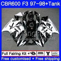 cbr f3 negro blanco al por mayor-Cuerpo + Tanque para HONDA CBR600FS CBR 600F3 CBR 600 F3 FS 97 98 290HM.28 CBR600RR blanco negro stock CBR600F3 1997 1998 CBR600 F3 97 98 Carenado