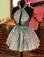 Wholesale sexy club dresses sparkly resale online - Sparkly Silver Sequined Homecoming Dresses Halter Sexy Backless Short Prom Dresses Hollow Front Cocktail Party Dresses Cheap