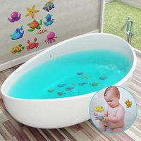 etiquetas da parede do oceano dos desenhos animados venda por atacado-10 pçs / set Adesivo De Banho Adesivo de Parede Telha Adesivos Oceano Mundo Esfrega Dos Desenhos Animados Adesivos no Banheiro para Crianças Bebê no Banho