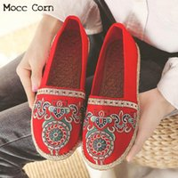 вышивка холст обувь оптовых-Women Ballet Flats Shoes Slip On Casual Lady Embroidery Canvas Shoes Flat Loafers Breathable Espadrilles Linen Zapatos Mujer