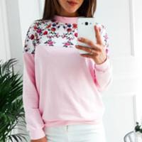 типы одежды женщины оптовых-Women clothes Autumn Winter Spring Flower Printing Wild Mixed Colors Floral Round neck Long sleeves Sweatshirt 4 Types