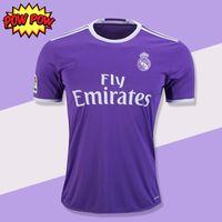 camisa de futebol quente venda por atacado-Venda quente Qualidade Tailândia Real Madrid RONALDO Camisas De Futebol Longe Roxo MODELO MARCELO VINICIUS JR KROOS ISSO ASENSIO BALE Camisas De Futebol
