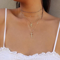 Wholesale chrome plated jewelry resale online - Jewelry Multi Layered Necklaces Rose Cross Pendant Chrome Plated Gold Silver Necklaces Chokers Necklaces Jewelry Gift
