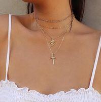 mehrschichtige vergoldung großhandel-Schmuck Multi Layered Halsketten Rose Kreuz Anhänger Verchromt Gold Silber Halsketten Halsketten Schmuck Geschenk