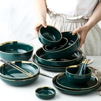Wholesale set bowl dinnerware for sale - Group buy Green Ceramic Gold Inlay Plate Steak Food Plate Nordic Style Tableware Bowl Ins Dinner Dish High End Porcelain Dinnerware Set