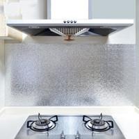 pegatinas de papel de cocina al por mayor-A prueba de aceite de la cocina Etiqueta de la pared Armario Lampblack Wallpaper Autoadhesivo a prueba de polvo Papel de aluminio impermeable Espesar Suministros para el hogar 1 9zdC1