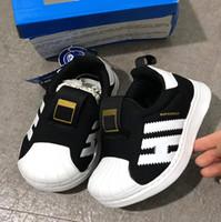 ingrosso baby uk-2019 Fashion Baby Superstar per bambini Scarpe casual in pelle Fondo morbido Ragazzi Ragazze Sneakers Scarpe per bambini Scarpe SZ 5.5k - uk 2.5