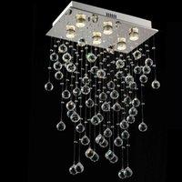 rectángulo led luz colgante al por mayor-Lámpara de araña de rectángulo moderno Iluminación de comedor Lámpara de cristal colgante Cocina de lujo Isla LED Cristal Lustres GU10 90-265V