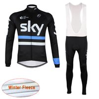 Wholesale sky cycling online - 2019 UCI World Tour Winter Thermal Fleece Team SKY Long Sleeve Cycling Jersey Bib Pants Set MTB Bike Clothing Outdoor Sportswear Y