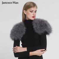 straußenpelze großhandel-Jancoco Max 2019 Echtpelz Cape Shrug Frauen Echte Straußenfedern Pelzschal Poncho Mode Heißer Verkauf Eine Größe S1264
