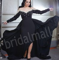 Wholesale vintage gold fashion pearl for sale - Group buy Saudi Arabic Black Long Sleeve Formal Evening Dresses Sheer O Neck Pearls Party Gowns Celebrity Prom Dress Asymmetrical Robe de soirée